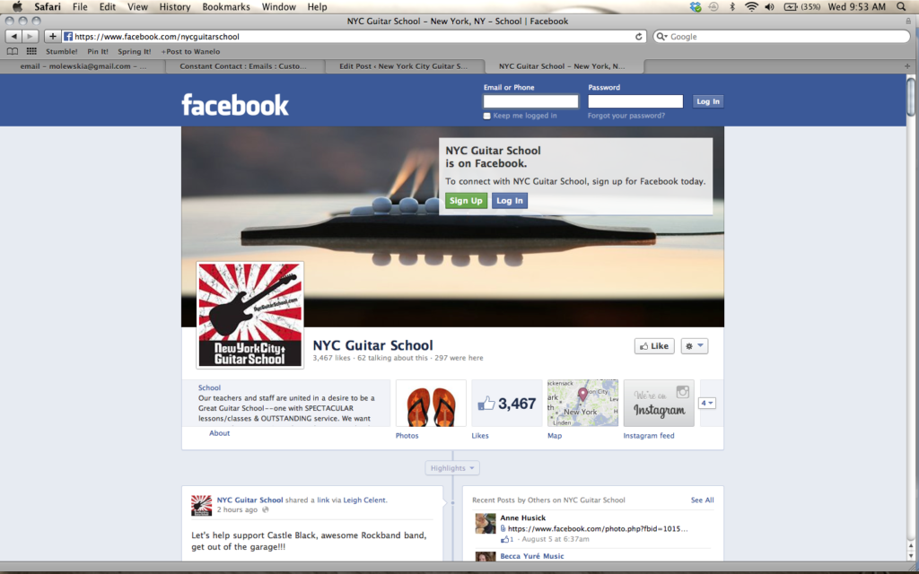 New York City Guitar School Exciting Social Media News for
