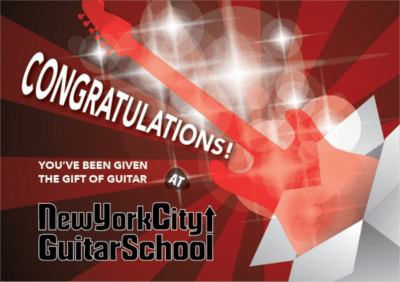 New York City Guitar School Gift Certificates For Guitar Lessons And